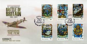 Kiribati 2010 FDC WWII WW2 Battle of Britain 70th Biggin Hill 6v Cover Stamps