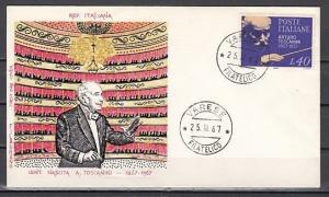 Italy, Scott cat. 948. Conductor A. Toscanini issue on a First day cover.