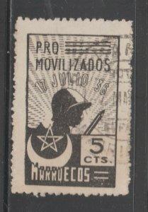 Spain War 1936 Morocco Marruecos- 3-27-21- No Imprint- Scarce and Used!