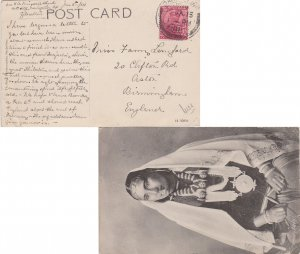 India 1a KGV 1915 Darjeeling PPC (Nepaly Lady) to Astor, England. Crease at b...