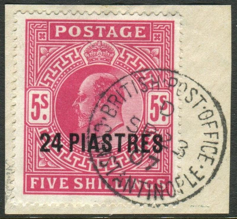 BRITISH LEVANT-1905 24pi on 5/- Bright Carmine.  A very fine used example  Sg 12