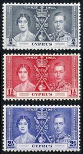 Cyprus SG148/50 1937 Coronation m/mint