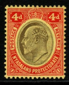 NYASALAND SG76w 1908 4d BLACK & RED/YELLOW WMK INVERTED MTD MINT