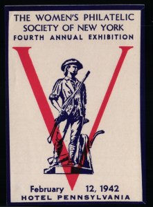 The Women's Philatelic Society of NY - 4th Annual Exhibition  - OG HM - 1942