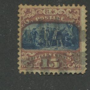 1869 US Stamp #119 15c Used F/VF type II Stained Catalogue Value $200