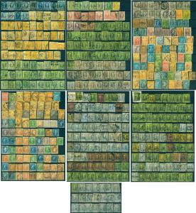 MEXICO 1856-68 CLASSICS Hidalgo /Eagle /Maxi. large lot -districts/var. Sc#1//70