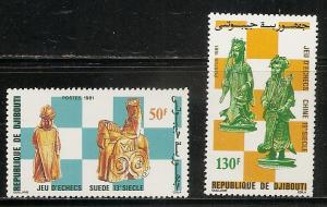Djibouti 535-6 1981 Chess set MNH