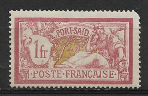 French Offices-Port Said 1fr Scott # 30,VF Mint previously Hinged*OG (FC-6)