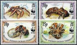 1993 British Indian Ocean Territory WWF, Crabs, Birgus latro, compl. set MNH!