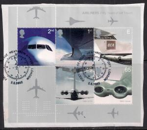 GB 2002 QE2 Jet Airliners Mini sheet used on paper ( M366 )