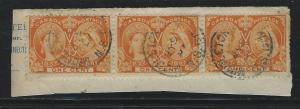 CANADA - #51 - 1c QUEEN VICTORIA DIAMOND JUBILEE STRIP OF 3 MIDDLETON, NS CANCEL