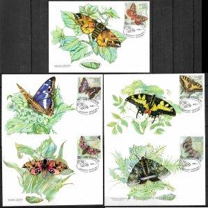 UKRAINE, 2004 SET OF 5 MAXI CARD MC MAXIMUM CARD BUTTERFLIES