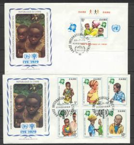 Zaire 921-27, 2 FDC Children year