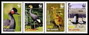 Gambia Birds WWF Black Crowned Crane Strip of 4v SG#4920-4923 MI#5631-5634