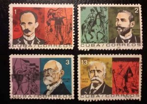 CUBA Sc# 908-911  HEROES OF THE WAR OF INDEPENDENCE  Cpl set of 4    1964  Used