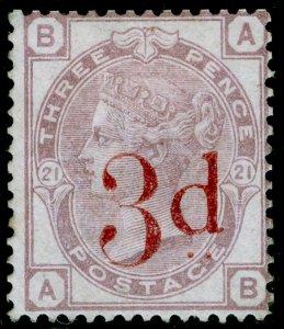 SG159, 3d on 3d lilac plate 21, M MINT. Cat £650. AB