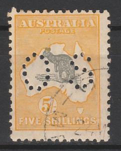 AUSTRALIA 1929 KANGAROO OS 5/- SMALL MULTI WMK CTO WITH ** GUM
