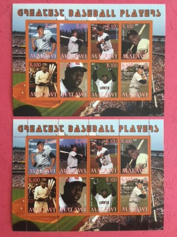 Malawi 2007 Greatest Baseball Player Athletes Sports 2 M/S Stamps perf & imperf