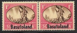 Basutoland 1945 1 penny Peace Overprint pair, mint nh, Scott #29