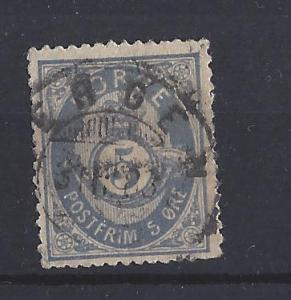 Norway, 24, Post Horn Single,**Used**#8