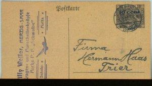 89322 - Germany: MERZIG SAAR  - Postal History -  Postal Stationery Card 1921