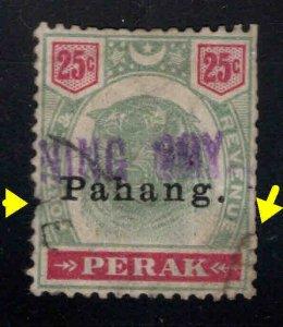 MALAYA-Pahang Scott 17 Used Scarce Tiger stamp Faulty Filler