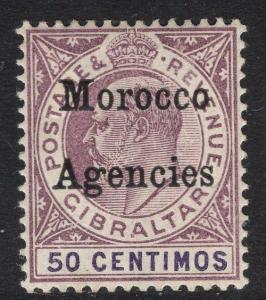 MOROCCO AGENCIES SG21 1905 50c PURPLE & VIOLET MTD MINT