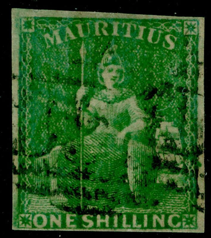MAURITIUS SG35, 1s yelow-green, FINE USED. Cat £150.