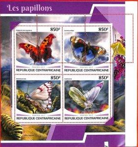 A0269 - CENTRAL AFRICA - MISSPERF 2017  stamp SHEET:  Nature BUTTERFLIES