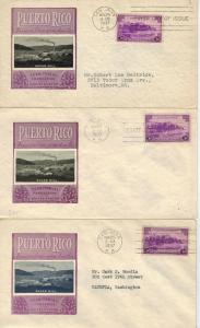 Puerto Rico US Territory 801 Ioor SET OF 3 DIfferent Color Inset Varieties