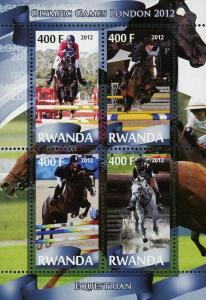 Rwanda Equestrian Sport Olympic Games London 2012 Souvenir Sheet of 4 Stamps Min