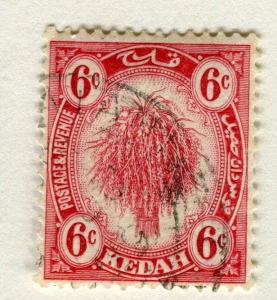 MALAYA KEDAH;  1921 early Rice sheaf issue fine used 6c. value
