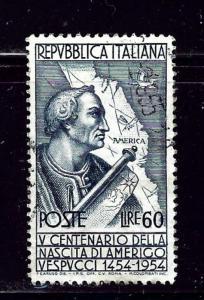 Italy 666a Used 1954 Amerigo Vespucci  Perf 13x14