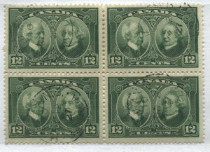 Canada KGV 1927 12 cents block of 4 used