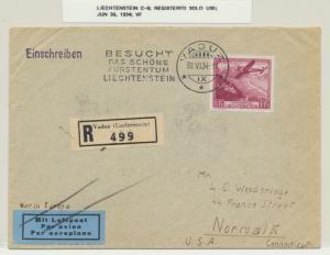 LIECHTENSTEIN 1934 AIR COVER REG VADUZ TO USA, 1Fr (C6) SOLO USE (SEE BELOW)