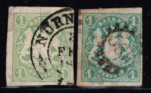 Bavaria SC# 15 and 15a, Used, Shallow Thin on 15a -  Lot 122215