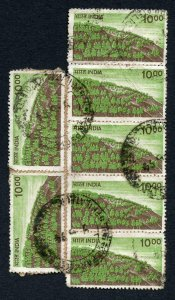 India SG936 10r POSTAL FORGERY x 7 on piece Strip of Four