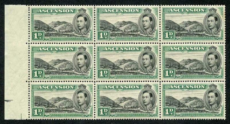 Ascension SG39 1938 1d black and green (Green Mountain Farm) Block of 9