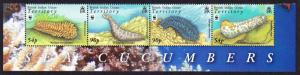 BIOT WWF Sea Cucumbers strip with Animal's Name SG#392-395 MI#470-473 SC#361-364