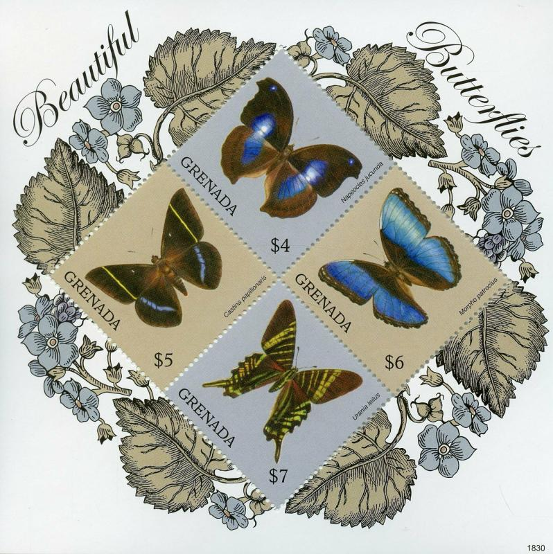 Grenada 2018 MNH Beautiful Butterflies 4v M/S Butterfly Insects Stamps