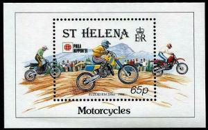 HERRICKSTAMP ST. HELENA Sc.# 565 1991 Motorcycles NH Stamp Souvenir Sheet