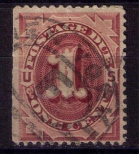 US Scott #J22 USED 1c Bright Claret F-VF