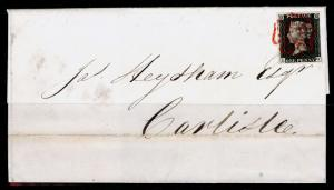 SG2, 1d PLATE 3, FINE USED. Cat £900. RED MX. 4 MARGINS. COVER AUG 8th 1840. LG