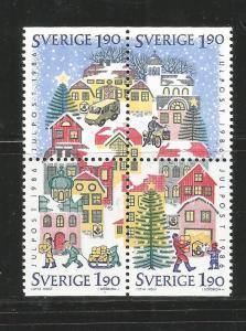 SWEDEN, 1617A,  MNH,BLOCK OF 4, CHRISTMAS