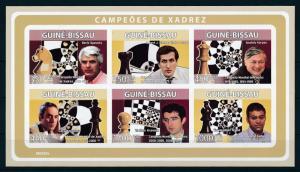 [96508] Guinea Bissau 2008 Sport Chess Fisher Kasparov Anand Imperf. Sheet MNH