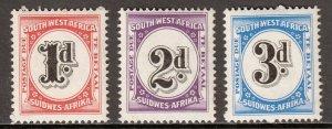 South West Africa - Scott #J91-J93 - MNH - Some gum toning - SCV $6.75