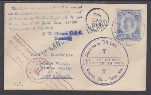 Tonga Sc 58 on 1936 Tin Can Mail Cover to New Zealand