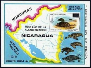 Nicaragua Michel 2180 Bl.136,MNH. Turtle,Map.Olympics-Moscow-1980.