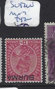 BURMA (P1312B) KGV ON INDIA  SG 12W   MOG