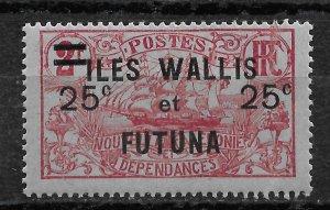 Wallis & Futuna 1924, 25c on 2fr, Scott # 33,VF MLH*(GLN-1)